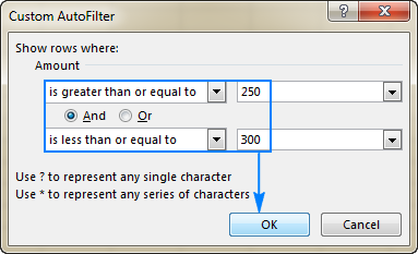Filtering numbers in Excel