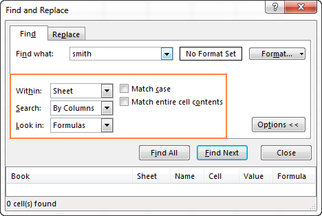 Additional options of Excel Find