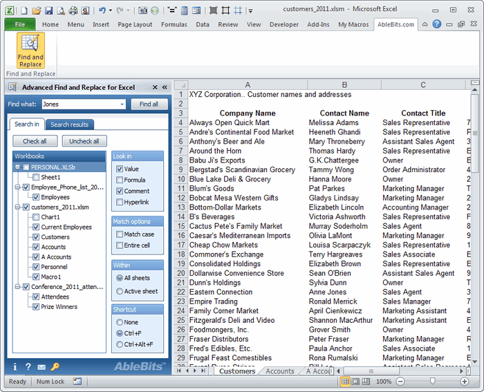 Advanced Find and Replace panel - selecting workbooks and worsheets for the search