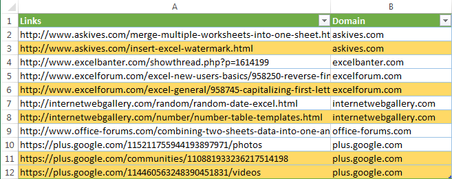 Highlight the second and subsequent mentions of a domain name in your URL table