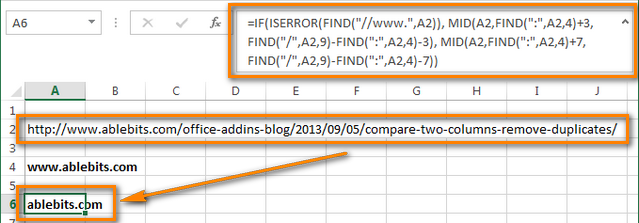 Formula to get domain names from a URL list in Excel