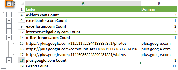 Click the plus and minus signs ( + -) in order to expand / collapse the details for each domain.