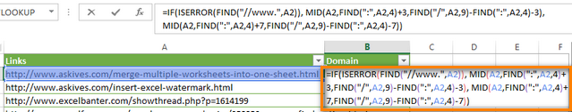 Formula to extract a domain name from URL