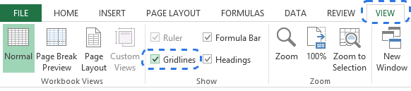 alt=Select the Gridlines checkbox on the VIEW tab to show gridlines in Excel