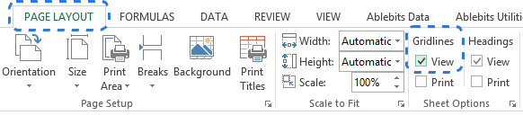 alt=Check the View box under Gridlines on the PAGE LAYOUT tab to display gridlines in Excel