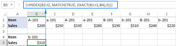 Example of case-sensitive horizontal lookup in Excel
