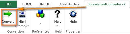 The SpreadsheetConverter button on the Excel ribbon