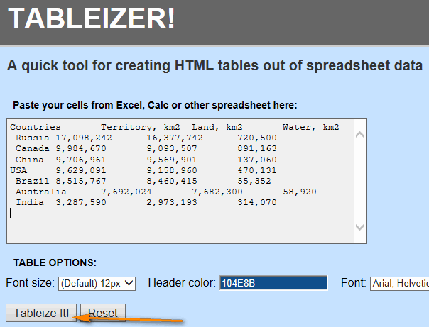 TABLEIZER - free and simple Excel to HTML online converter
