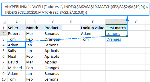 Vlookup and insert a hyperlink to the first occurrence to the lookup value