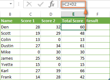 An additional column that sums numbers in columns C and D