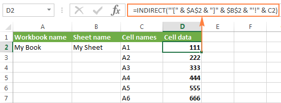 Excel INDIRECT function - basic uses and formula examples
