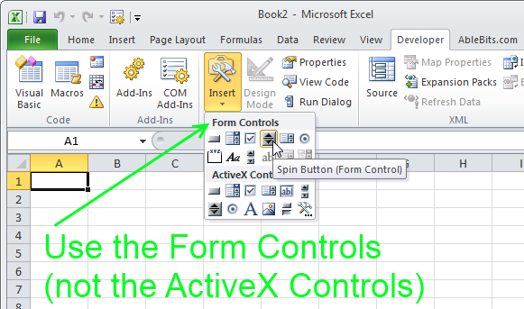 Select either Spin Button or Scroll Bar from the Form Controls group