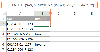 Formula to identify invalid SKUs based on a string length