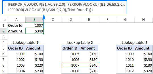 Use Nested IFERROR functions to perform sequential Vlookups in Excel.