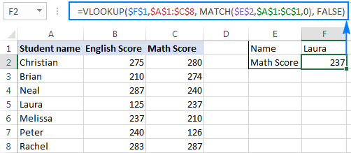 Vlookup and Match formula