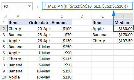 Excel Median If formula to find a median based on one condition