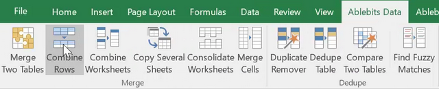 Combine Rows Wizard on Excel ribbon