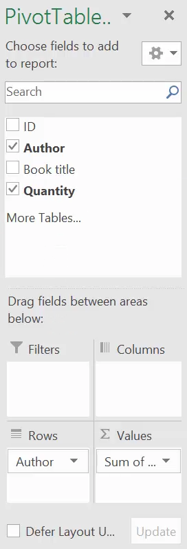Count using pivot table