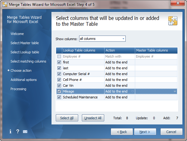 Adding new data to the end of the Master table