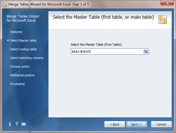 Merge Tables Wizard - selecting the Master table