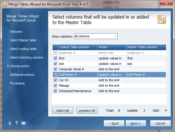 Updating data in the Master table