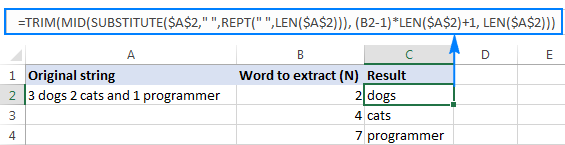 Excel Mid formula to extract Nth word from a text string