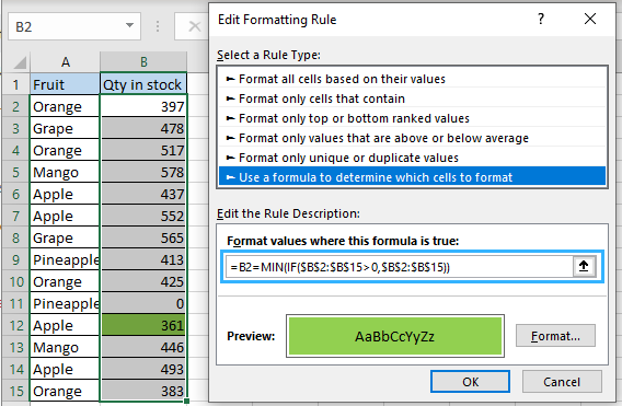 Highlight the smallest of numeric values without zero using MIN formula