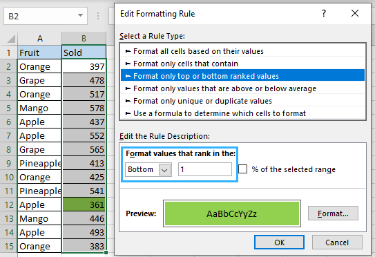 Highlight the smallest number using conditional formatting