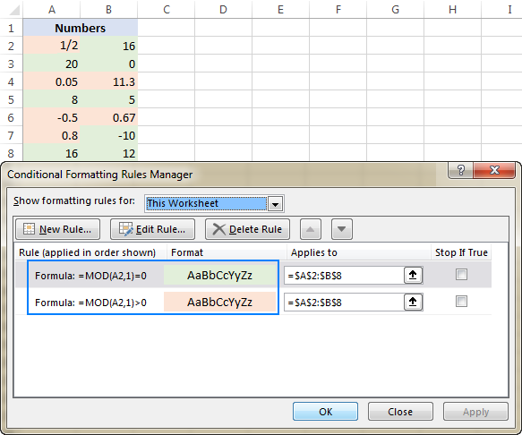 Highlighting integers and decimals in Excel