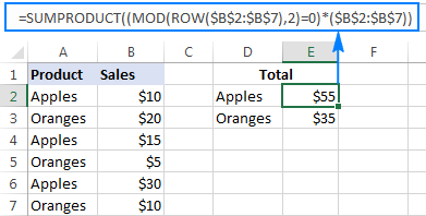 Mod formulas to sum every other row