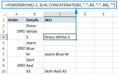 Mod formula to concatenates the contents of each three cells