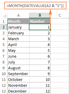 A formula to convert month name to number in Excel