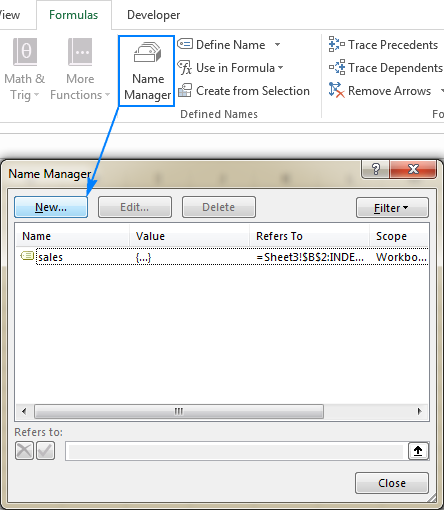 Create a new name by using the Excel Name Manager.