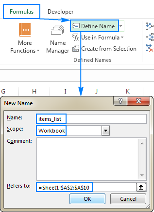 Creating a name by using the Define Name feature