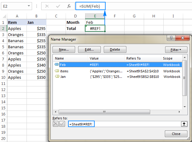 Excel name errors