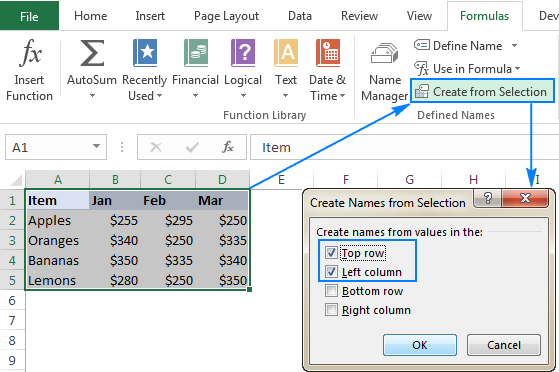 Creating Excel names from selection