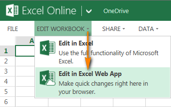 To switch to editing mode, click Edit Workbook > Edit in Excel Web App.