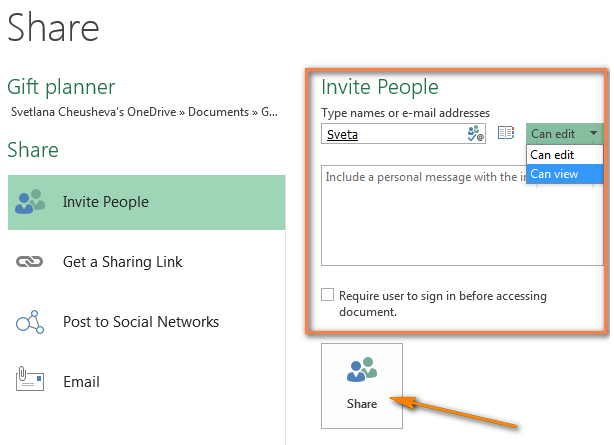 Inviting people to view or edit the Excel workbook you shared.