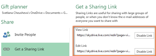 Get a sharing link.
