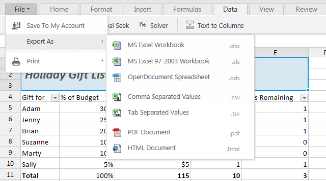 An Excel table in the Zoho Sheet online viewer