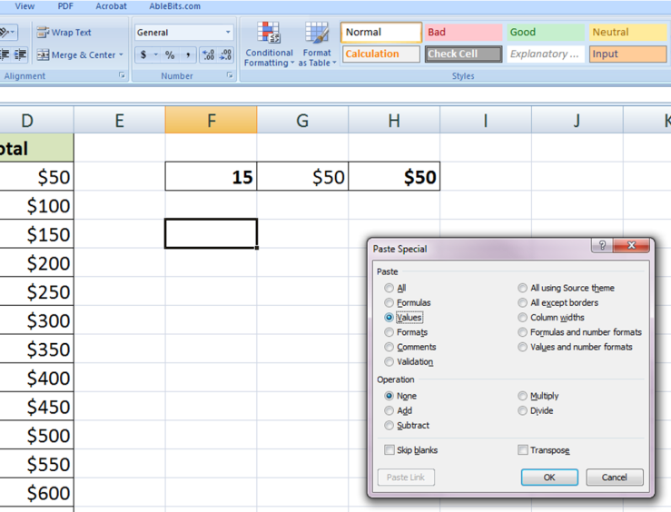 how to paste to end of column in excel