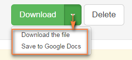 You can either download the resulting PDF file to your computer or save it to Google docs