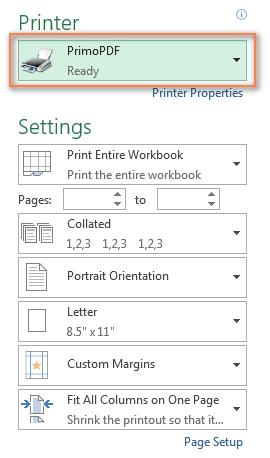 Primo PDF - a pseudo printer to convert Excel to PDF