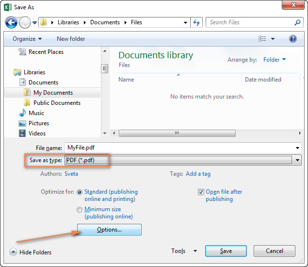 Saving an Excel file as PDF