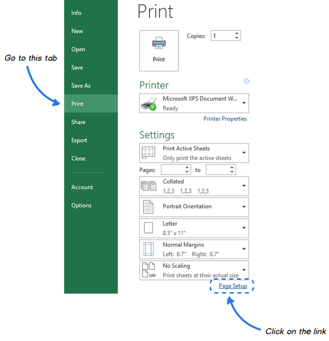 Click On The Page Setup Link Under Print Settings List To Open