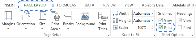 Go to PAGE LAYOUT -> Sheets Options to select the Print checkbox under Gridlines