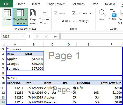 Viewing page breaks in Excel