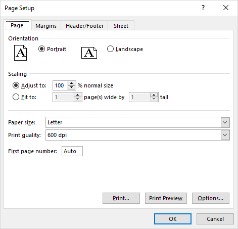 Page Setup dialog box