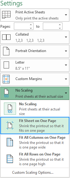 Print Excel spreadsheet on one page.