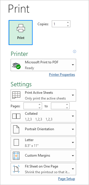 Printing an Excel spreadsheet
